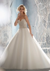 Style 1952 Crystal Beaded Embroidery on Tulle