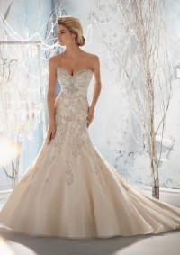 Style 1953 Beaded, Raised Embroidery on Net with Taffeta Empire