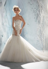 Style 1956 Beaded, Embroidered Appliques on Tulle