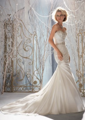 Style 1958 Crystal Beaded Embroidery on Soft Satin
