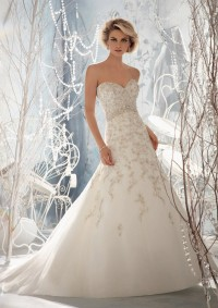 Style 1961 Embroidery on Net with Crystal Beading