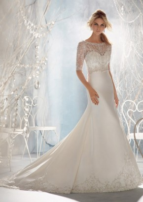Style 1962 Crystal Beaded Embroidery on Net Overlaying Lustrous Satin