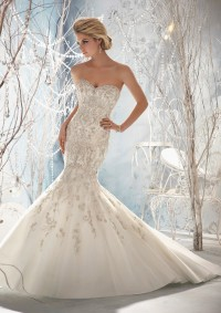 Style 1963 Elaborately Beaded Embroidery on Net