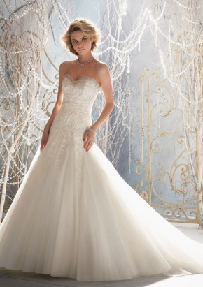 Style 1964 Delicate Alencon Lace Appliques on Net Edged with Crystal Beading