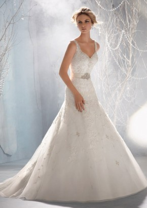 Style 1968 Venice Lace Appliques on Net Edged with Crystal Beading