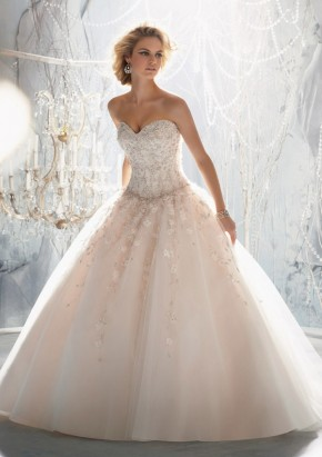 Style 1970 Elaborate Beading with Raised Embroidery on Tulle
