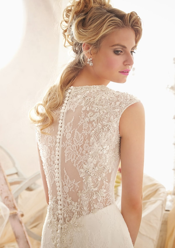 Style 2604 Crystal Beaded Embroidery on Chantilly Lace - Sunshine ...