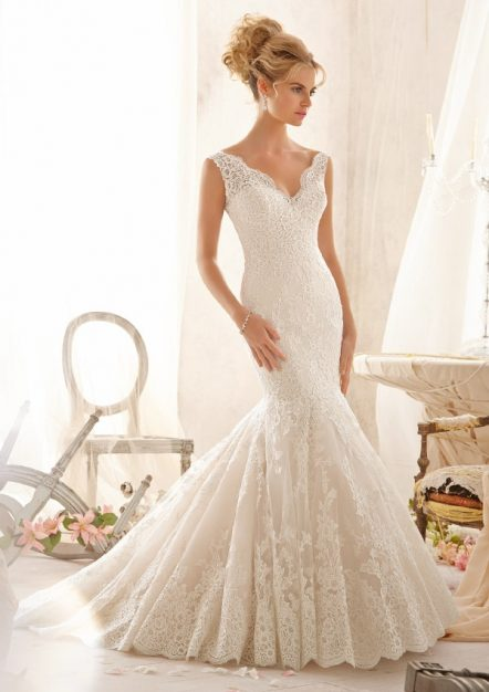 Style 2605 Embroidered Lace Appliques on Net with Wide Hemline