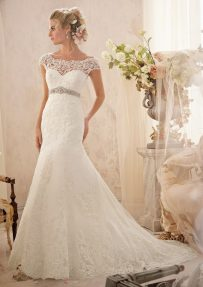 Style 2620 Alençon Lace Appliqués and Wide Hemline on Net with Crystal Beaded Empire